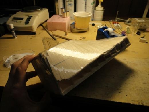 Figure 1 - Propeller block covered in plastic before applying glass