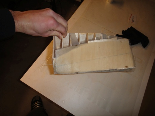 Figure 4 - Apply glass layers on prop block and smooth out as much as possible