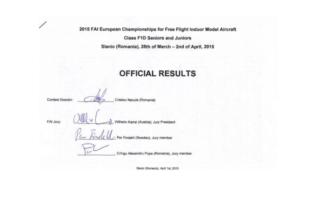 ECH F1D 2015 Final Results 1